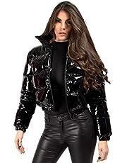 Kvinnors våt look vinyl PVC PU glänsande beskuren puffer jacka kappa
