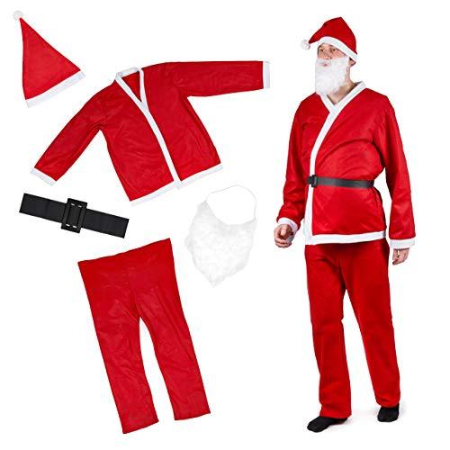 5 Pezzi Costume Babbo Natale Uomo| Cappello, Cintura, Pantaloni, Giacca, Barba| Resistente e Comodo da Indossare| Vestito Babbo Natale, Costume di Natale, Festa.