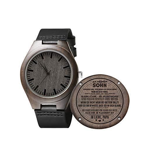 Gravierte hölzerne Uhr für Männer, natürliche hölzerne Groomsmen Uhr für Ehemann Sohn natürliche Ebenholz angepasst Holz Uhr Geburtstag Jubiläumsgeschenk (Sohn An Papa)