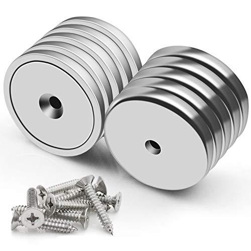 FINDMAG Super Power Neodym-Magnete mit Loch, industrielle Stärke, runde Basis, Seltenerd-Magnete, 40,8 kg Zugkraft, 8 Schrauben im Lieferumfang enthalten, 10 Stück