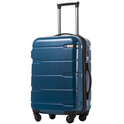 Coolife Luggage Expandable(only 28') Suitcase PC+ABS Spinner Built-In TSA lock 20in 24in 28in Carry on (Caribbean Blue, S(20in_carry on))