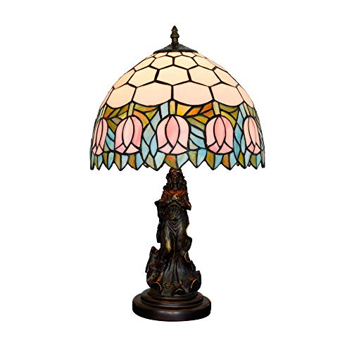 DALUXE Tiffany Tulip Rose Mese Mese Lámparas Vintage Pastoral Strapil Gauge Lámpara de Cama Arte Antique Chica Office Lámparas de Oficina 12 Pulgadas Café Bar Dormitorio Sala de Estar Decoración E27