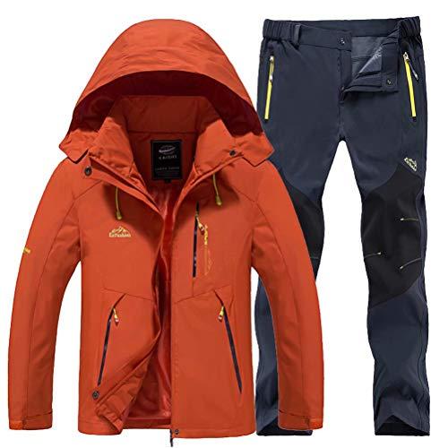 JIANYE Chaqueta Montaña Hombre Invierno Pantalones Montaña Excursionismo Conjunto Chaqueta Softshell Pantalones Softshell Naranja+Gris S