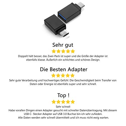 INVID USB A auf USB C Adapter mit (2 Stück), USB-C USB 3.1 Typ C Buchse auf USB Stecker,Ladekabel Adapter für MacBook Pro 2018 Chromebook Pixelbook,LG V20,Samsung Galaxy S9,Google Pixels 2,Nexus 5