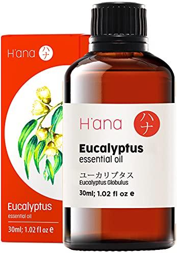 Aceite esencial de eucalipto de Hana - Limpia los problemas respiratorios y alivia los dolores de cabeza - 100 aceite de eucalipto puro de grado terapéutico para aromaterapia y uso tópico - 30 ml