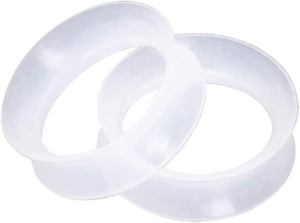 Clear Ultra Thin Double Flared Silicone Saddle Tunnel Plugs, Sold as a Pair