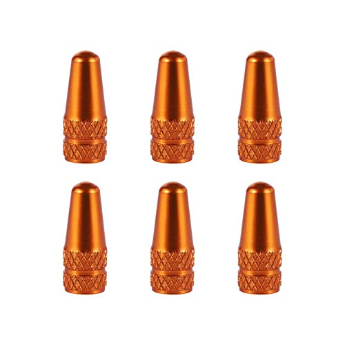 WenJiaShanGDSH Car Dust Caps, 6Pcs Valve Caps Standard Aluminum Alloy Orange Color Dust Covers Valve Caps For MTB Tire Valve Protector MTB Accessories Automotive Motorcycles (Color : Orange)