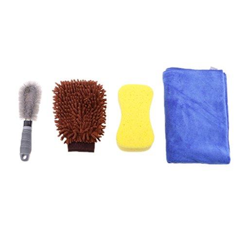 Tubayia - Juego de 4 Herramientas de Limpieza para Coche con Guantes, Cepillo, Esponja, Toalla