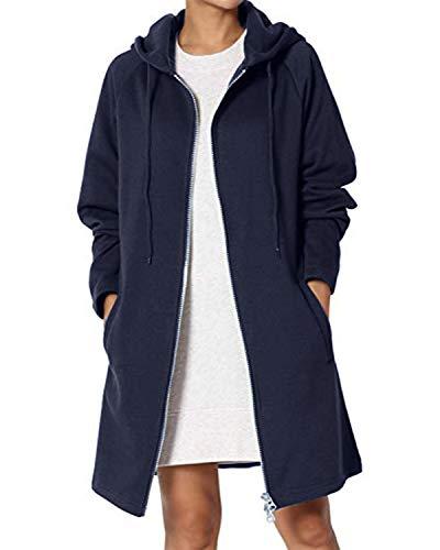 Kidsform Damen Hoodie Herbst mit Reißverschluss Zip Hoodies Lose Kapuzenjacke Lang Sweatshirt Langen Mantel A-Dunkelblau XL