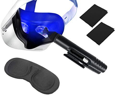 Kit de limpieza de lentes ópticos VR: Bolígrafo + Tapa de Lente + 2 Paños Microfibra, para OCULUS QUEST 2 y 1, HTC Vive, Cosmos, Valvex, Auriculares PS4 VR, Rift S, Drone, HoloLens, AR/VR
