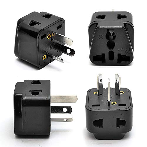 Australia, New Zealand, China Power Plug Adapter by OREI, AU Travel Adapter 2 in 1 USA Grounded Outlet Universal Socket - Type I - Fiji, Argentina - 4 Pack