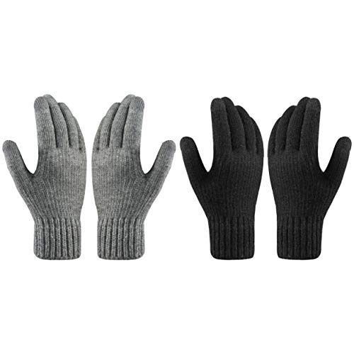 QKURT Winterhandschuhe für Erwachsene, Touchscreen-Handschuhe, volle Finger, gestrickt, warme Handschuhe für den täglichen Gebrauch, Pendeln, Radfahren, Laufen