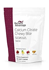 500 mg calcium from only calcium citrate 500 IU of vitamin D3 to support calcium absorption Sugar-free [not a low-calorie food] Sugar-free [not a low-calorie food] Each chew is individually wrapped so you can take them with you wherever you go.