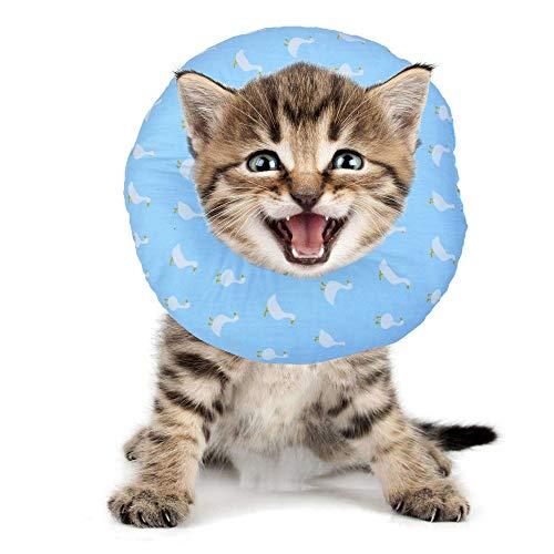 BVAGSS Haustier Halsband Einstellbarer schützender Rutschfester Baumwollring Protective E-Collar für Katze und Hund XH004 (XS, Blue Swan)