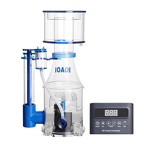 IOAOI Protein Skimmers for Saltwater Aquariums up to 300 Gallons Fish Tank Cast Acrylic Protein Skimmer Ultra Quiet Needle Pinwheel DC Pump 35W for Big Tank Water Flow and Air Flow Adjustable