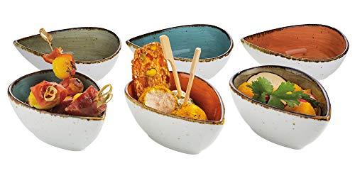 batania 6er-Set Snackschale, Dip-Schale Brisbane Porzellan Tropfen | 12 x 7 x 4,5 cm