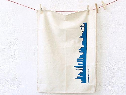 44spaces Frankfurt Skyline Küchentücher Stadt Design blau, 50x70 cm Reine Baumwolle (Bio), Geschirrtücher für Frankfurter & Fans, Geschenkidee Geburtstag Grill-Saison Garten-Fest Mitbringsel
