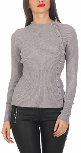 Fashion4Young 5302 Damen Feinstrick-Pullover Pulli Stehkragen Pullover Strickpullover Nieten (grau, L/XL=38/40)