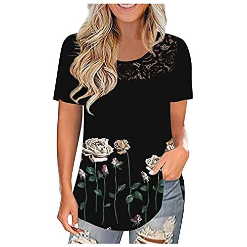 Tunika Damen GroßE GrößEn Bluse Lang Damen Oversize Shirt Damen Sommer Tunika Damen Kurzarm Tee Shirts Spitze Sommer Blusen(Schwarz,XL)