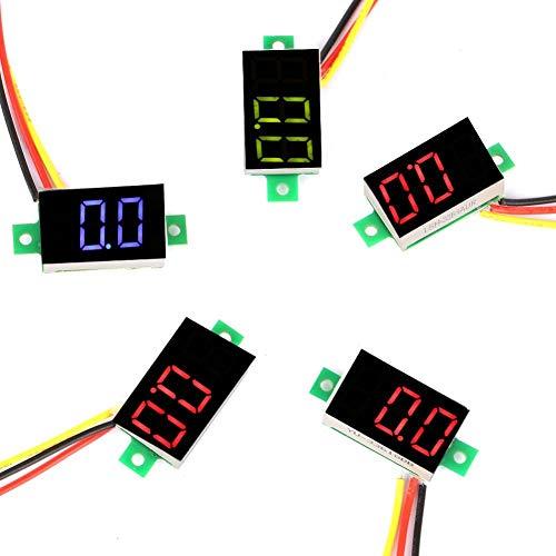 LED-Voltmeter, 5 Stück 3 Farben 0,36-Zoll-Digitalanzeige DC-Voltmeter Drei-Draht-LED-Voltmeter-Spannungsüberwachung