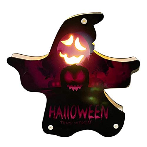 ZZALLL Halloween Decoration Atmosphere Night Light Wooden Lamp Desk Ornaments Bar - 10#