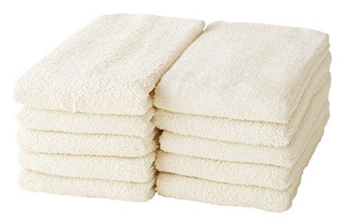 GamachaTowel 22色から選ぶフェイスタオル10枚セット (ブラウン) 綿100% 薄手
