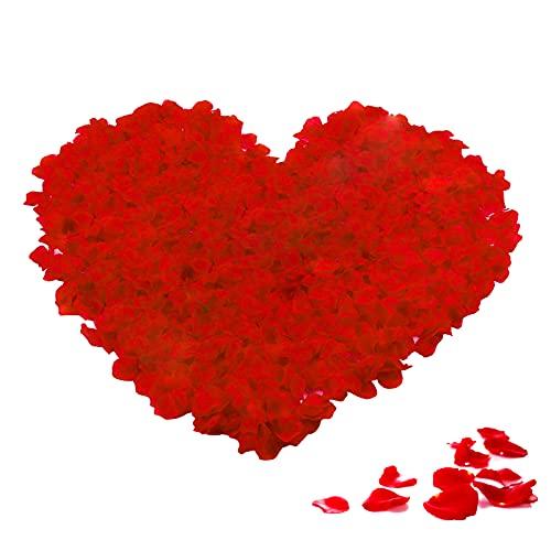 Rosenblätter, 2000 Stück Rosenblüten Rot, Seide Rosenblätter für Hochzeit, Verlobung, Jahrestag, Tischdekoration, Party Dekoration (Rot)