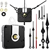 StFlyBro 2 Pieces Non Ticking Clock Movements with 4 Pack Different Size Clock Hands, DIY Repair Parts Replacement, 7/10in(18mm) Total Shaft Length and 2/5in(11mm) Thread Length, Battery Operated