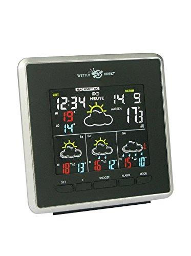 Technoline WD 4026 Wetterdirekt - Wetterstation mit LED-Anzeige,Innen und Außentemperaturanzeige, sowie Wettervorhersage für 4 Tage (schwarz-silber mit Batterien)
