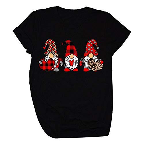 T-Shirt Frauen Valentinstag Liebe bedrucktes Hemd Kurzarm lässig T-Shirts (XL,4Schwarz)