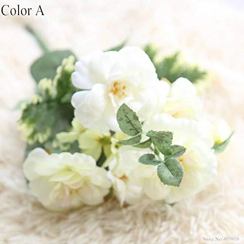 HYLZW Kunstmatige Bloem Plant 1 Bunch Kunstmatige Olie Schilderen Thee Rose Bloemenkunde Plant Arrangement Bruiloft Decoratieve Bloemen