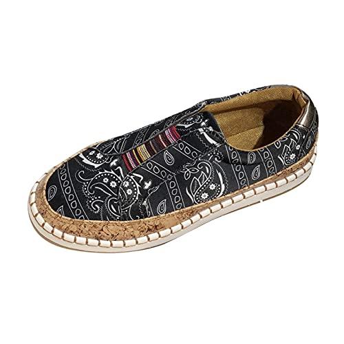 Fomino Vrijetijdsschoenen dames zomer enkele schoenen canvas sneaker print espadrilles ademende vrijetijdsschoenen erwtenschoenen platte stoffen schoenen wandelschoenen voor dames meisjes, zwart, 37 EU
