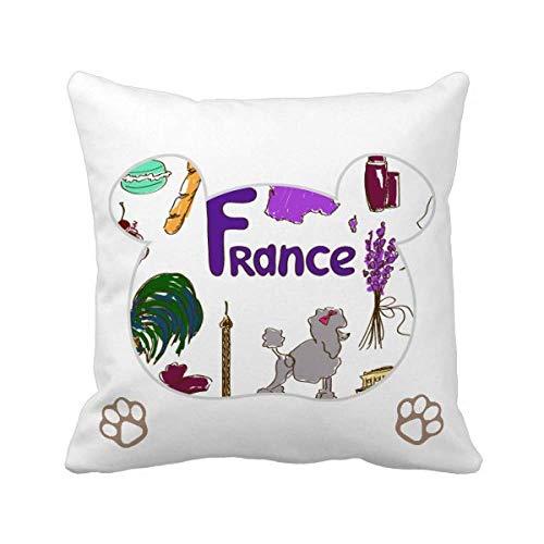 Funda cuadrada con diseño de oso de la bandera nacional de Francia