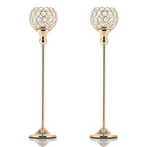 MKOIJN Candelabros de pilar de cristal dorado para mesa de centro de mesa decorativa de boda, aniversario celebración, decoración de la casa regalos (2 piezas 19)