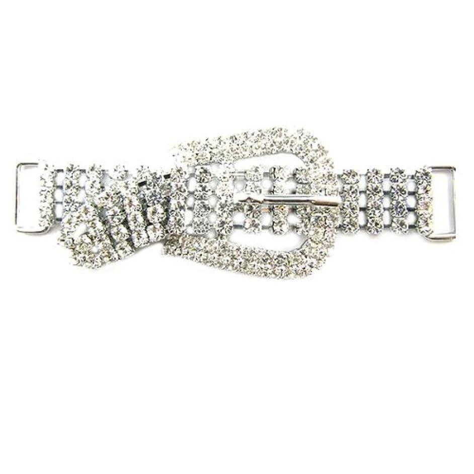 Mode Beads Imitation Rhodium Plated Rhinestone Shoe be Light Buckle, 3.5-Inch, Gray/Clear