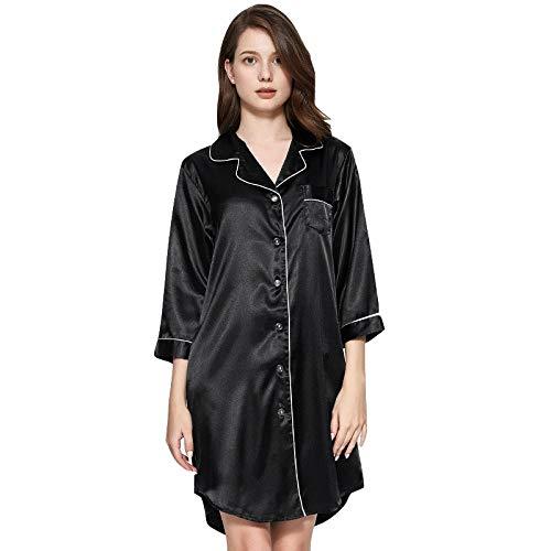 Pyjama Shirt Zomer Dunne ijs Zijde Shirt-Style Spinning Zijde Rok Thuis Service Badjas