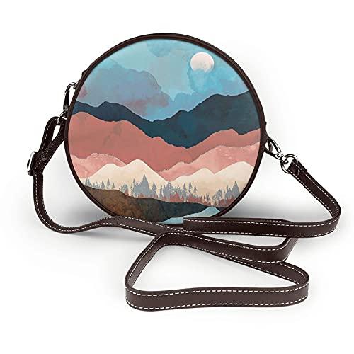 fepeng Pequeño bolso de hombro en forma redonda Pinturas de montaña Bolso cruzado circular Bolsas de hombro de microfibra, café, Talla única