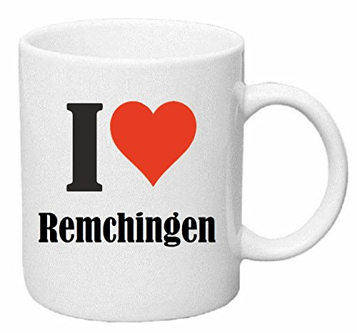 Kaffeetasse I Love Remchingen Keramik Höhe 9,5cm ⌀ 8cm in Weiß