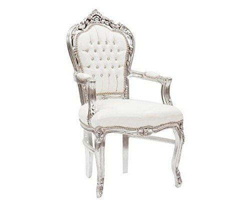 Sillón barroco, color plata y blanco