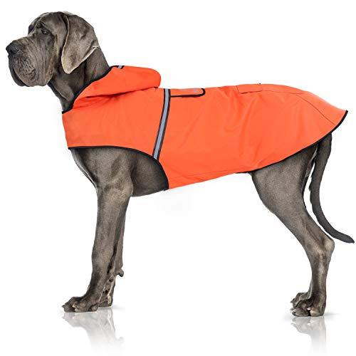Bella & Balu Chubasquero de Perro - Impermeable para Mascotas con Capucha y reflectores para Proteger a su Perro en Paseos Largos del frío, la Lluvia o la Nieve en épocas frías.(XL | Naranja)