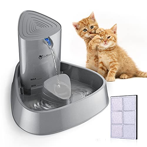 isYoung Fuente Silencioso para Gatos 1.5L Bebedero Automático Fuente de Agua para Perros y Gatos Sano e Higiénico con Luz LED y Filtros de Carbón Activado