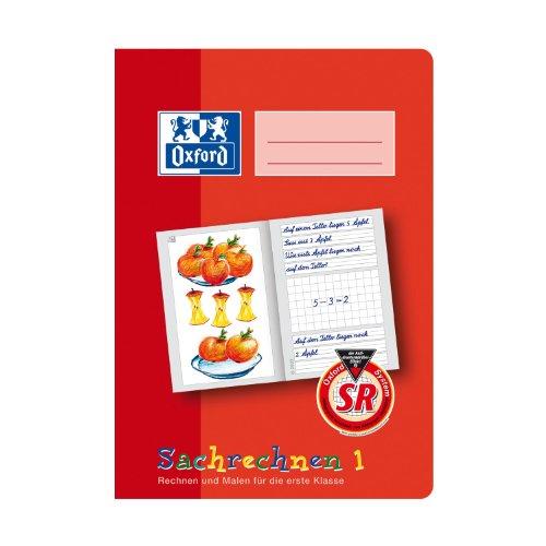 OXFORD 100050107 Sachrechenheft Schule 10er Pack A5 16 Blatt Lineatur SR1 (1. Klasse) Sachrechnen 1 rot