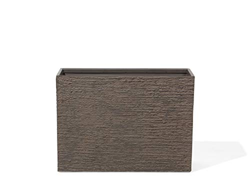 Beliani Vaso in Pietra e Resina Marrone Scuro Rettangolare 29 x 70 x 50 cm Edessa