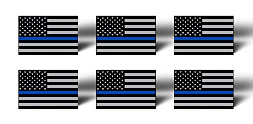 BLUE LINE 6 Pack MINI American Flag Subdued Stickers Decals Lives Matter - Support Police TAG USA