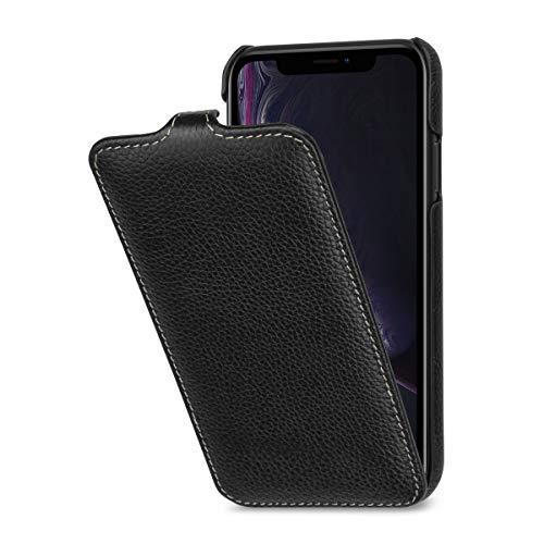 StilGut Schutz-Hülle kompatibel mit iPhone XR Flip-Hülle vertikal aus Echtleder, schwarz