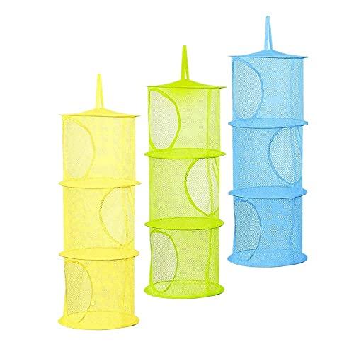 Voarge - Set di 3 cestini portaoggetti da appendere, per bambini, a 3 ripiani, pieghevoli, per vestiti piccoli (blu, verde, giallo)