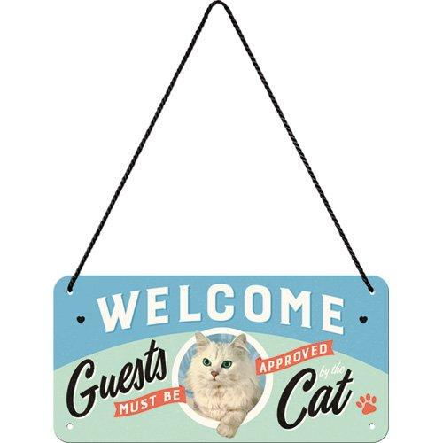 Nostalgic-Art 28027 Welcome Guests Cat | Retro Vintage Wand-Dekoration | Tür-Schild |Metall | 10x20 cm Hängeschild, Bunt, 10 x 20 x 0.1 cm