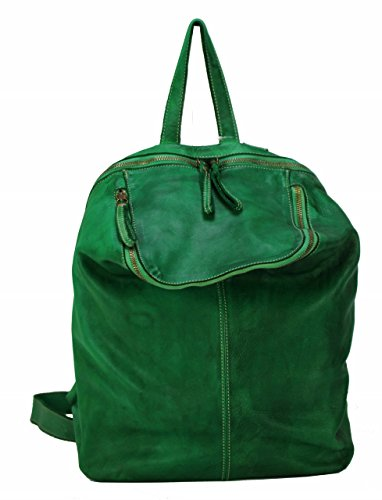BZNA Bag Richie Grün green Backpacker Designer Rucksack Damenhandtasche Schultertasche Leder Nappa sheep ItalyNeu