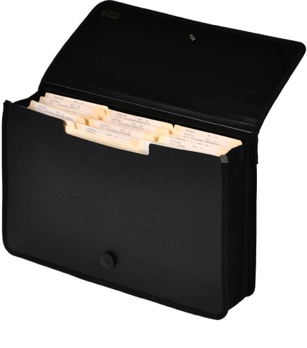 Lion Ex pand-N-File Poly Ex panding Wallet, Legal (9-1/2 x 15 Inches), 2-1/2 Inches Gusset, Black, 1 Wallet (48150-BK)