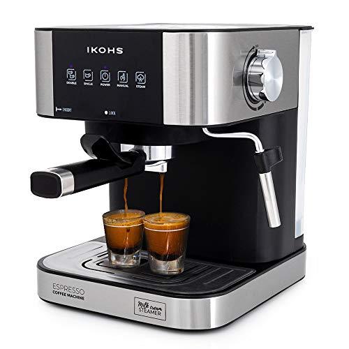 IKOHS Cafetera Expresso Automática TAZZIA - Cafetera Espress para Espresso y Cappuccino, 20 Bares, 1100 W, 1,5 litros, Vaporizador Orientable, Doble Salida, Regulador de Presión (Gris - TAZZIA Aroma)